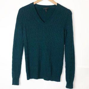 EUC J. Crew Hunter Green V neck Cable Knit Sweater